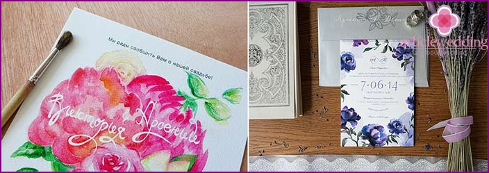 Watercolor invitation with floral motifs.