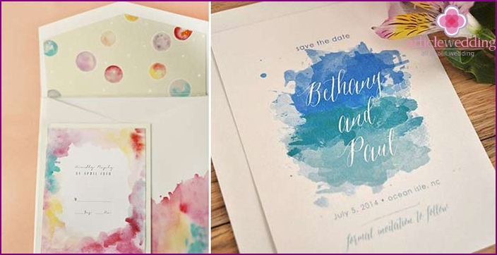 Wedding invitations with abstract drawings.