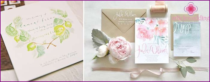 Invitations in delicate watercolor colors.