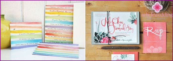 Bright watercolor wedding invitations