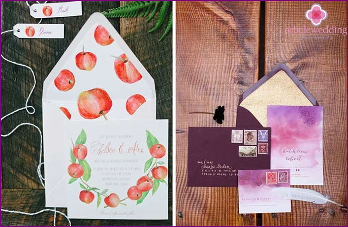Interestingly designed envelopes for watercolor invitations