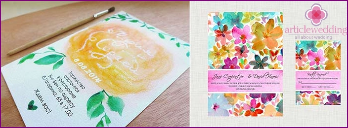 Handmade watercolor invitation cards