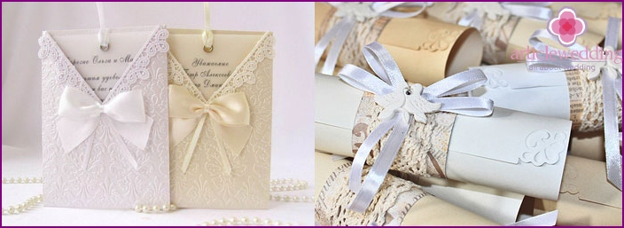 Handwritten letters for wedding invitations.