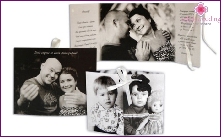 Invitation cards with children's photos of the newlyweds