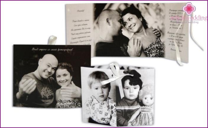 Einladungskarten mit Kinderfotos des Brautpaares