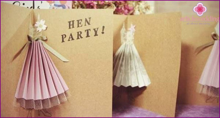 Thematic invitation card for a girlfriend for a bachelorette party