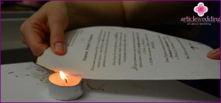 Singeing invitations direct burning