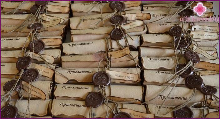 Many wedding invitation scrolls