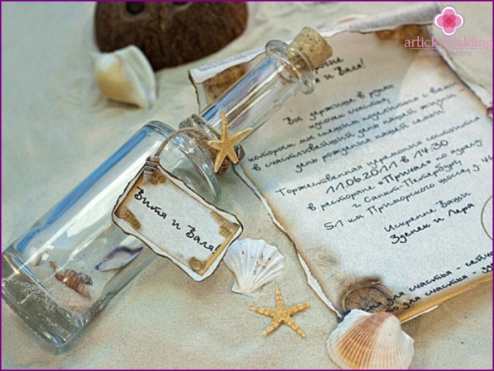 Scroll in a bottle for a wedding