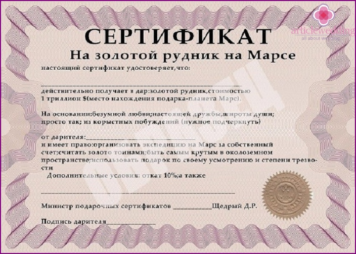 Gold Mars Possession on Mars Certificate