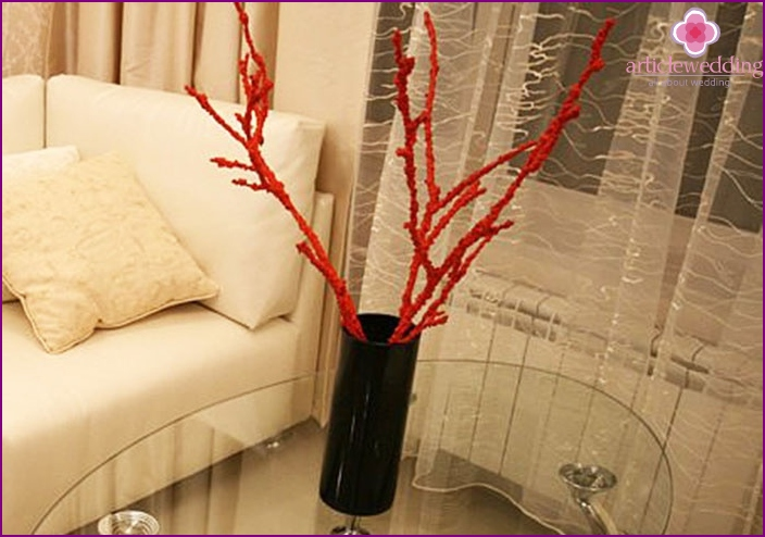 Decor of wedding tree branches for wishes with salt