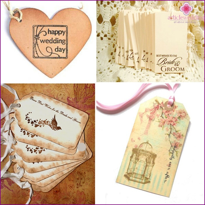 Examples of leaves of a wish tree for a wedding