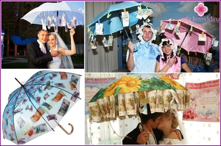 Money umbrella - an original present for the young wedding
