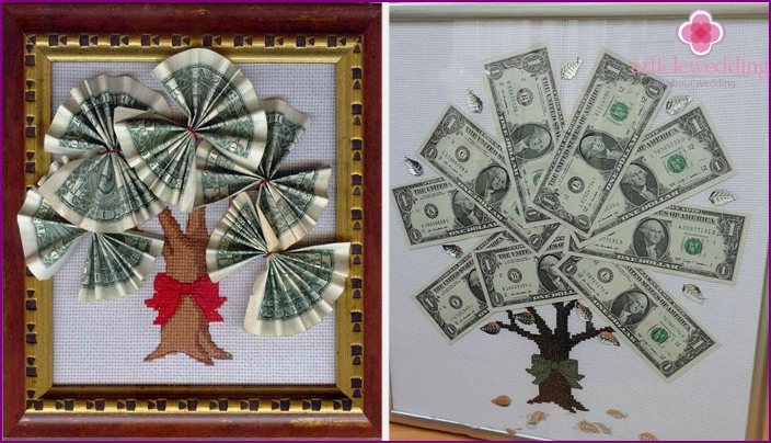 Embroidered paintings with dollars
