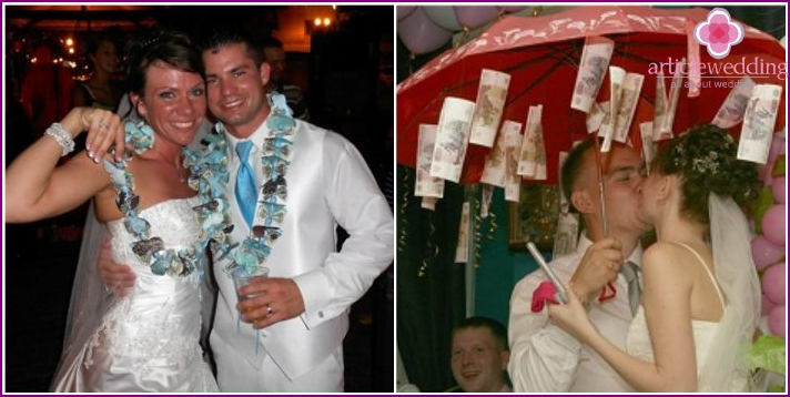 Money garland for the newlyweds.