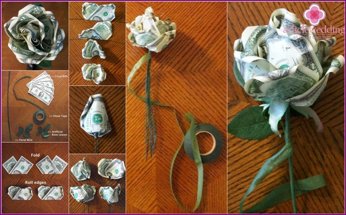 How to make a money flower for a wedding gift