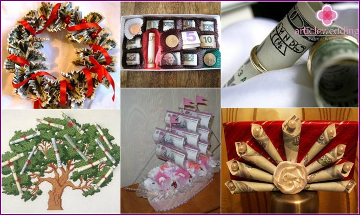 Original gifts with money for a wedding
