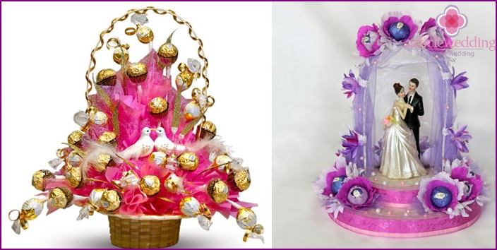 Unusual bouquets for a wedding from candies
