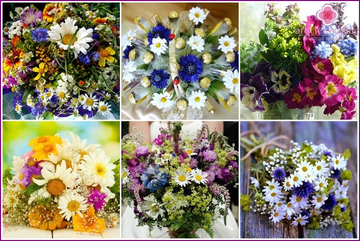 Blumensträuße von Wildblumen für eine Hochzeit