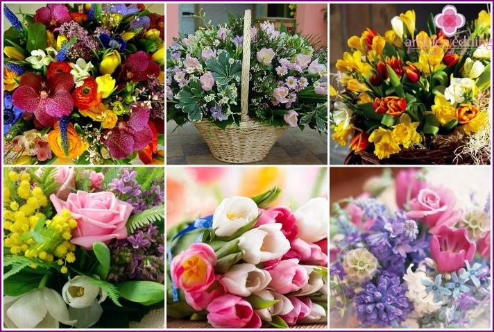 Tulpen und Hyazinthen als Geschenk für eine Hochzeit