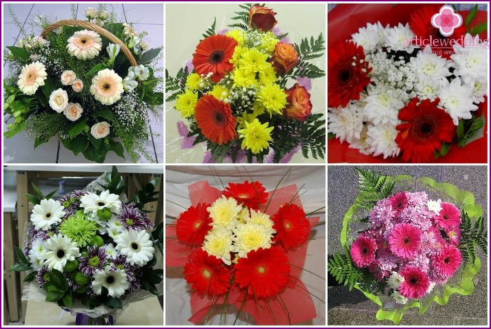 The combination of gerberas and chrysanthemums in wedding bouquets