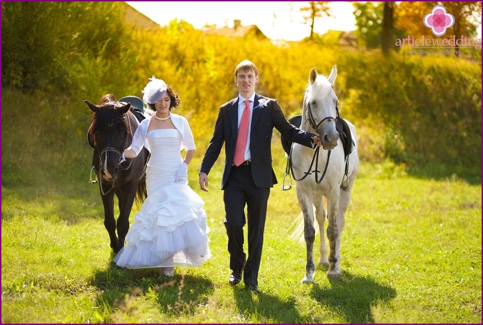 Horse walk for the bride and groom