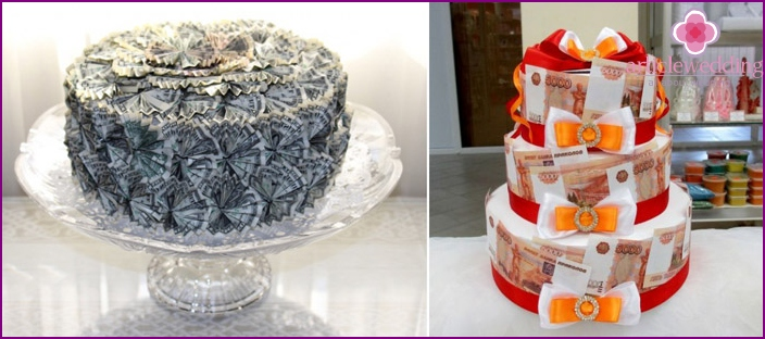 Cake made of money for a wedding photo