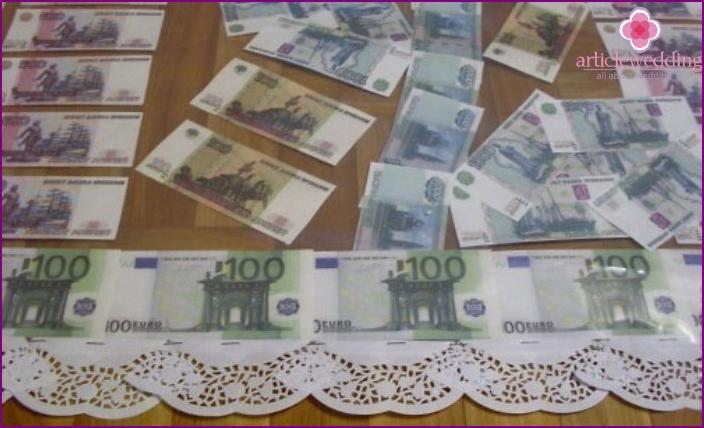 Carpet of money for a wedding