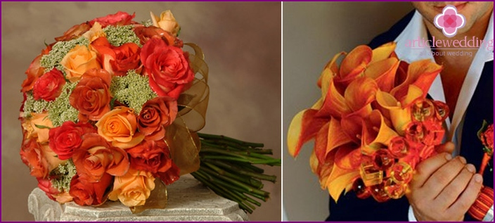 Orange flowers are suitable for a wedding.