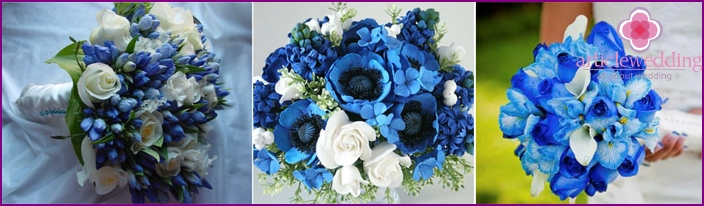 Newlyweds will be happy with blue flowers