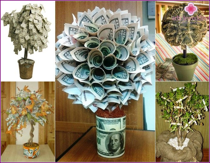 Money tree - a wedding gift with a hint