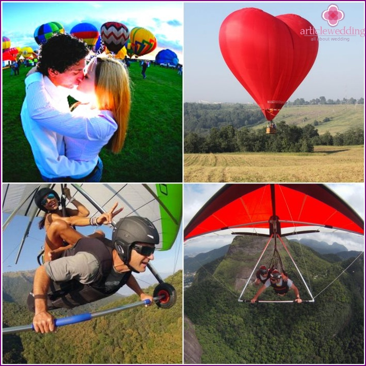 Wedding flight in a hang glider or a balloon