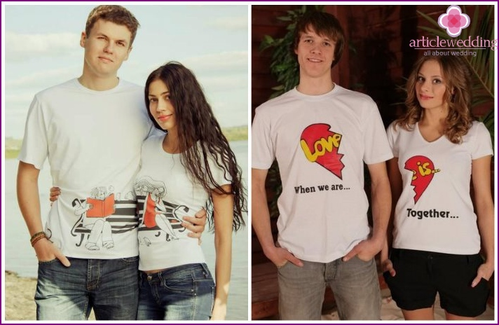 Pair t-shirts for newlyweds in love for a wedding