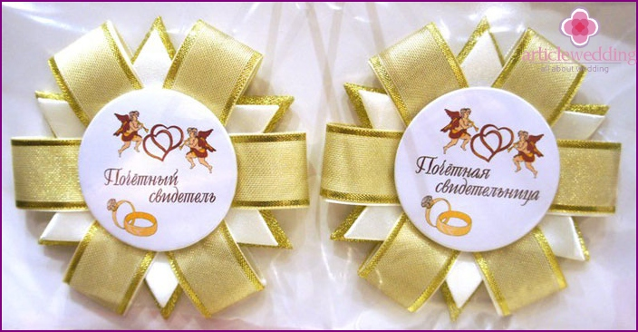 Wedding badge for witnesses from ribbons