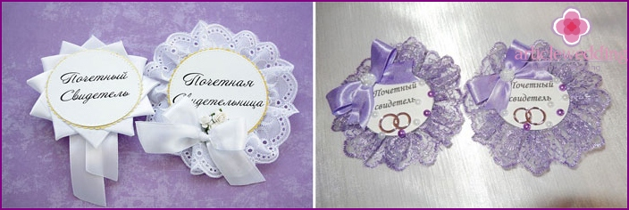 Wedding badges for witnesses with lace