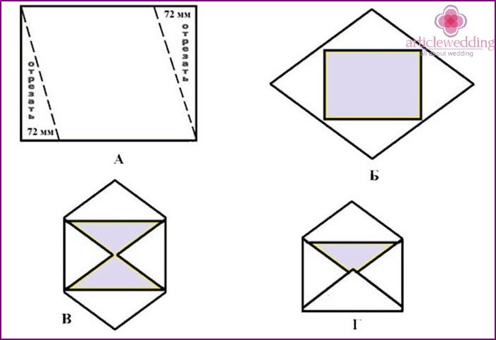Envelope template for rhombus wedding