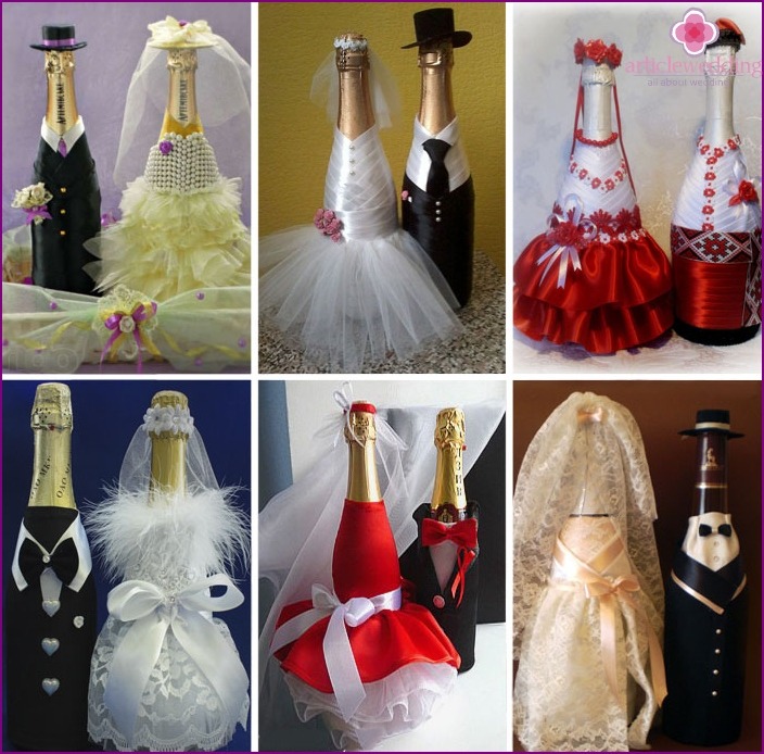 Champagne decor in the style of the newlyweds