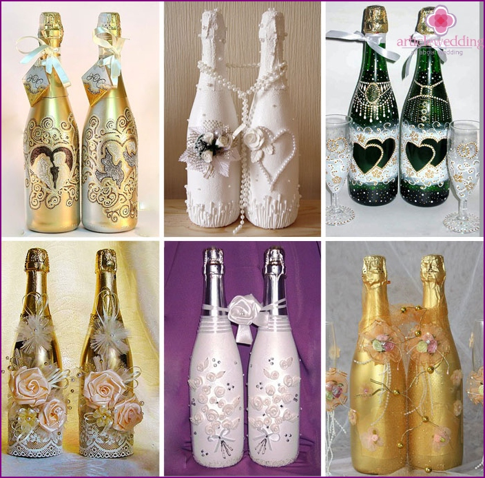 Decor of bottles for the wedding with beads and rhinestones