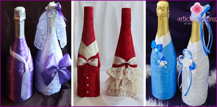 Decor champagne for wedding ribbons