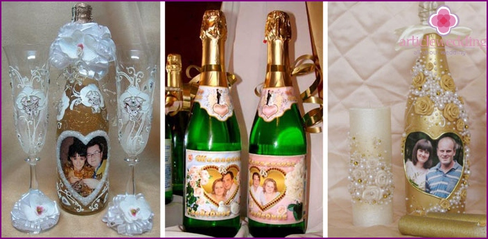 Champagne decorated with photos of the bride and groom