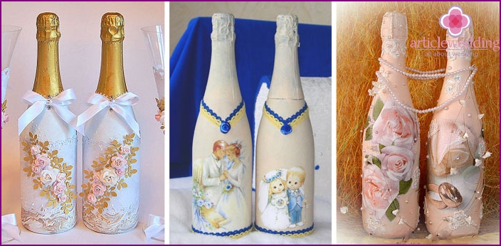 Decoupage champagne bottles for a wedding
