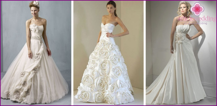 Wedding dresses decorated with flowers