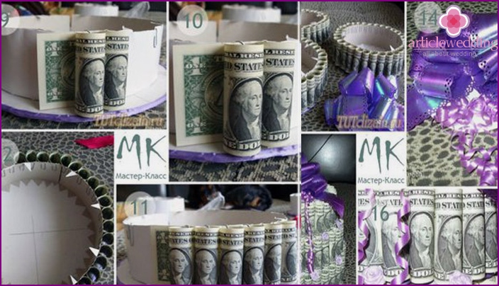 Step-by-step instructions for creating a cake out of money