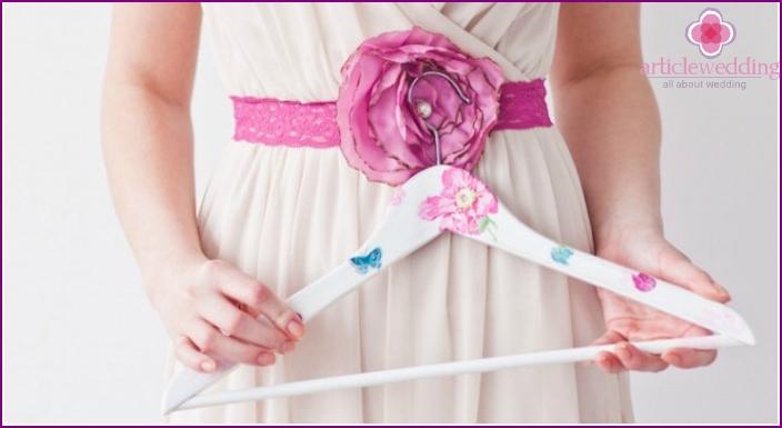 Beautiful accessory for a wedding dress - a hanger