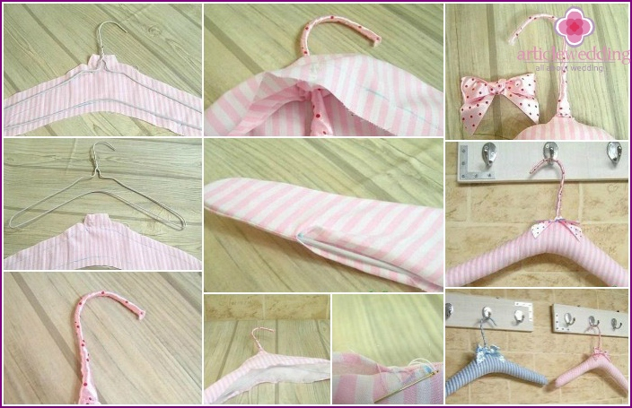 Creating a hanger with satin ribbons for a wedding