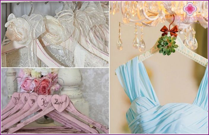Ideas for decorating hangers for a wedding dress