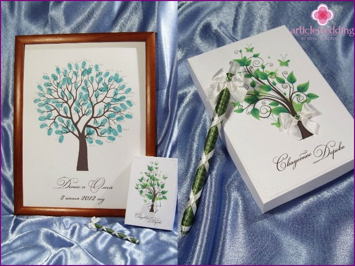 Paper tree of wedding greetings to the bride and groom