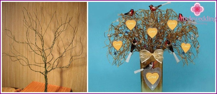 Examples of wire wedding wish trees