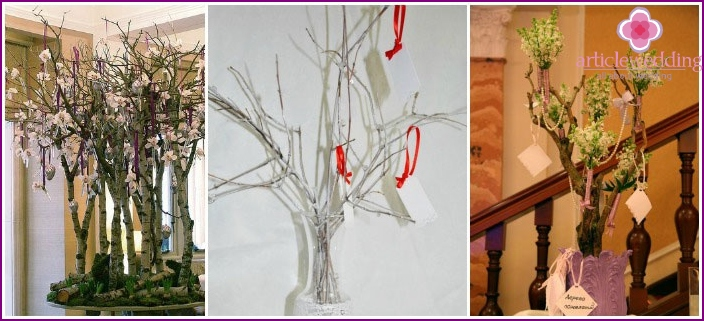 Wedding tree from living branches for parting words of guests