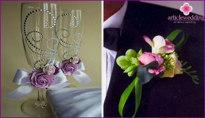 Beautiful decoration with rhinestones and flowers